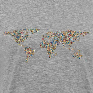 Psychedelic Tiled World Map Minus Antarctica - Men's Premium T-Shirt