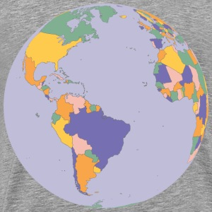 Political Map Earth Globe - Men's Premium T-Shirt