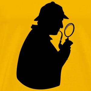 Consulting detective with pipe and magnifying glas - Men's Premium T-Shirt