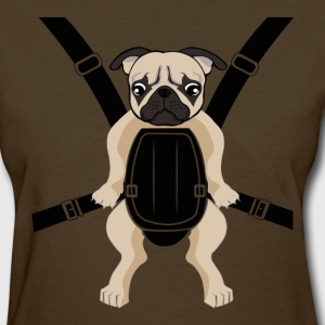 Funny Cute Baby PUG Carrier with Strap On T-Shirts - Women's T-Shirt