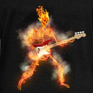 Flaming Skeleton Base Guitarist Long Sleeve Shirts - Women's Wideneck Sweatshirt