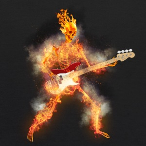 Flaming Skeleton Base Guitarist Sweatshirts - Kids' Hoodie