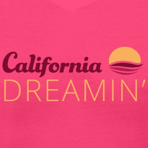 California Dreaming White Flowy TShirt - Women's V-Neck T-Shirt
