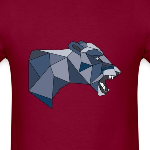 Geometric Lioness in Shades of Grey & Blue - Men's T-Shirt