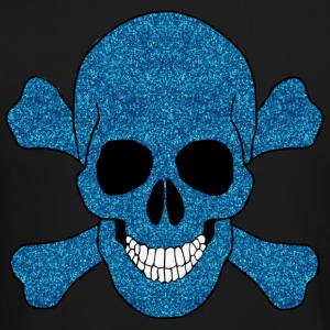 Faux Blue Glitter Skull And Crossbones Long Sleeve - Crewneck Sweatshirt