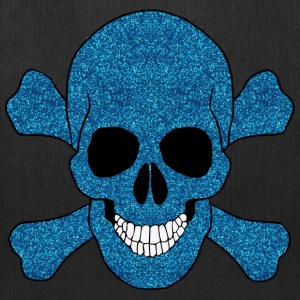 Faux Blue Glitter Skull And Crossbones Tote Bag - Tote Bag