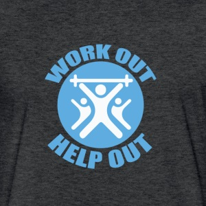 Work Out Help Out Men's T-Shirt - Fitted Cotton/Poly T-Shirt by Next Level