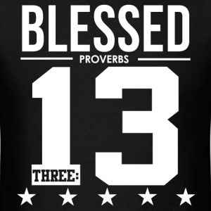 Blessed Proverbs 3:13 Christian Bible Scripture  T-Shirts - Men's T-Shirt