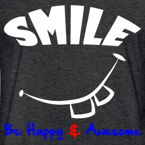 SMILE, HAPPY & AWESOME T-Shirts - Fitted Cotton/Poly T-Shirt by Next Level