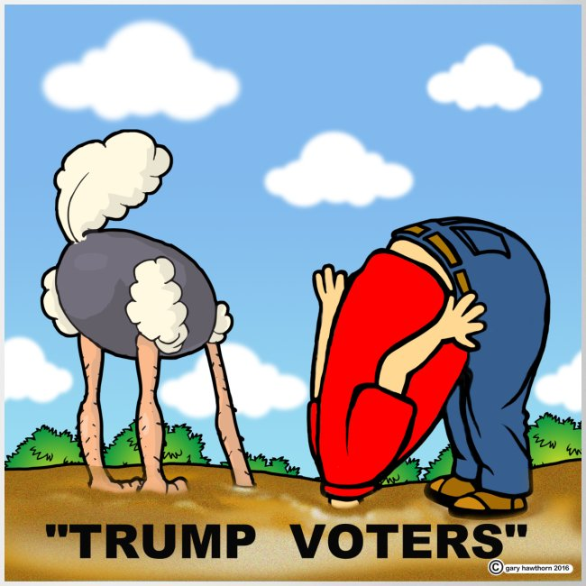 Image result for cartoon of trump supporters heads buried in sand