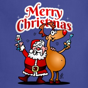 Merry Christmas - Santa Claus and his Reindeer - Adjustable Apron