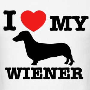 I love my wiener - Men's T-Shirt