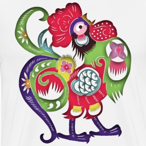 Chinese Papercut Rooster - Men's Premium T-Shirt