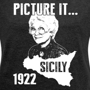 Picture It Sicily 1922 Golden Shirt for Girls - Women´s Rolled Sleeve Boxy T-Shirt