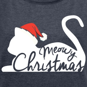 Meowy Christmas T-Shirts - Women´s Roll Cuff T-Shirt