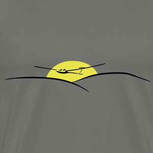 soaring pilot with sun - Men's Premium T-Shirt