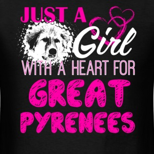 Girl With A Heart For Great Pyrenees Shirt - Men's T-Shirt