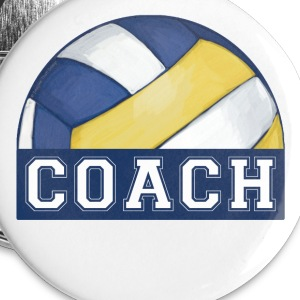 Painted Volleyball Coach Button - Small Buttons