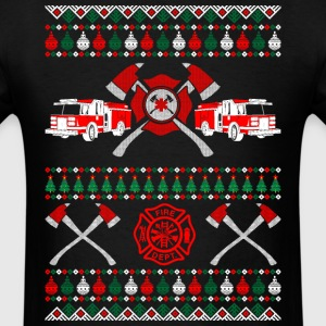 Firefighter Ugly Christmas Sweater T-Shirts - Men's T-Shirt