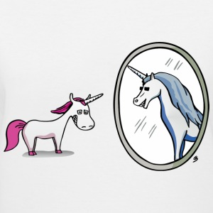 Unicorn in front of mirror T-Shirts - Women's V-Neck T-Shirt