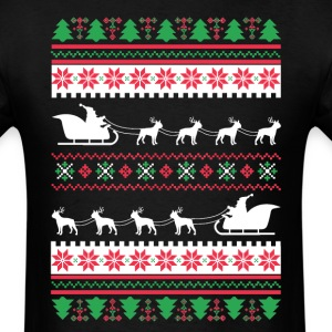 Boston Terrier Santa's Reindeer Christmas Ugly T-S T-Shirts - Men's T-Shirt