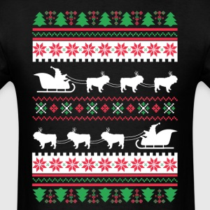 English Bulldog Santa's Reindeer Christmas Ugly T- T-Shirts - Men's T-Shirt