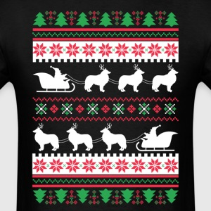 Rough Collie Santa's Reindeer Christmas Ugly T-Shi T-Shirts - Men's T-Shirt