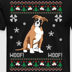 Boxer Ugly Christmas Sweater T-Shirts - Men's Premium T-Shirt