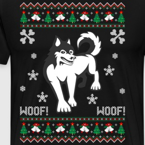 Husky Ugly Christmas Sweater T-Shirts - Men's Premium T-Shirt