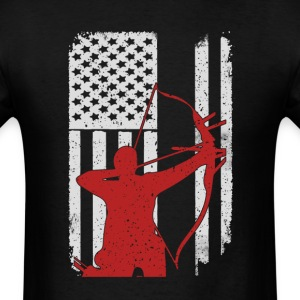 Archery Bow Hunting - America USA Flag T-Shirt T-Shirts - Men's T-Shirt
