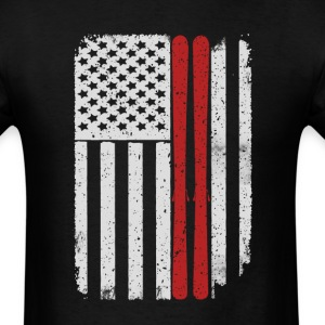 Skiing Mountains Skis Jumping - America USA Flag T T-Shirts - Men's T-Shirt