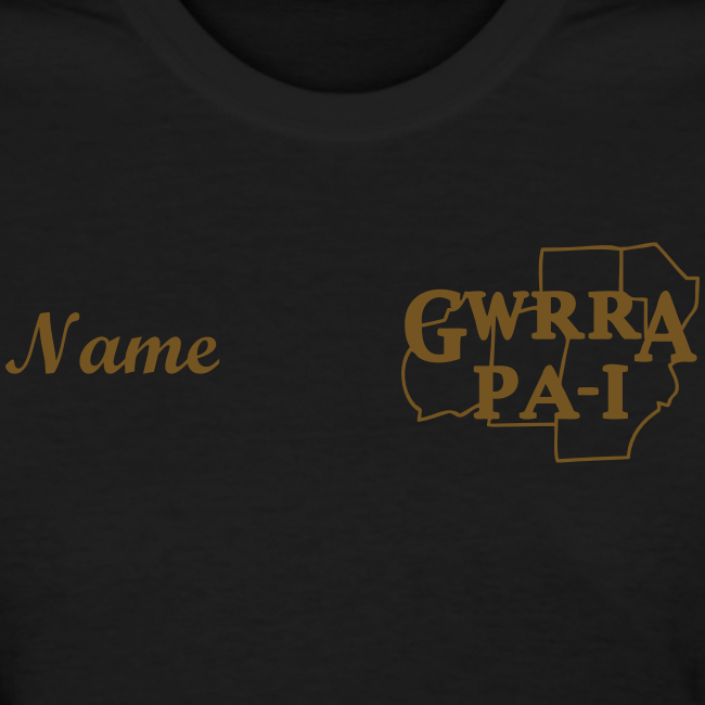 Women's Standard T- w/back, chest logo, name (Gold Glitz)