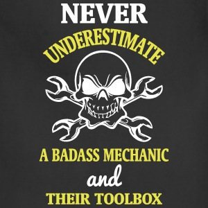 NEVER UNDERESTIMATE A BADASS MECHANIC! Aprons - Adjustable Apron
