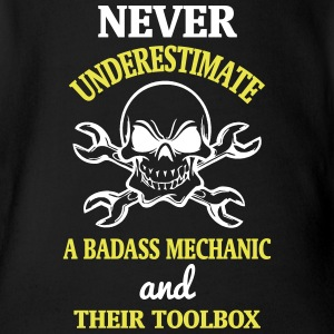 NEVER UNDERESTIMATE A BADASS MECHANIC! Baby Bodysuits - Short Sleeve Baby Bodysuit
