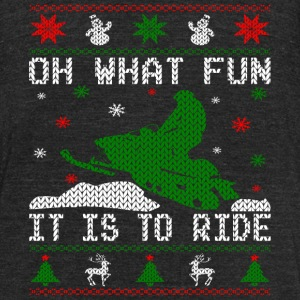 Oh What Fun Snowmobile Ugly Sweater style T-Shirts - Unisex Tri-Blend T-Shirt by American Apparel