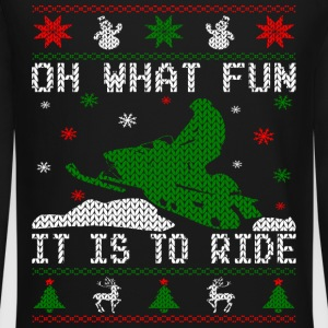 Oh What Fun Snowmobile Ugly Sweater style Long Sleeve Shirts - Crewneck Sweatshirt