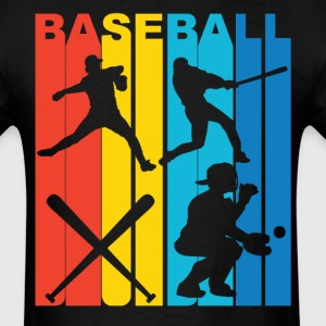 Vintage Retro 1970's Style Rainbow Baseball T-Shir - Men's T-Shirt