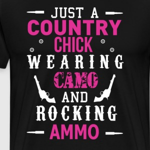Country Chick Wearing Camo and Rocking Ammo Shirt T-Shirts - Men's Premium T-Shirt