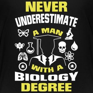 NEVER UNDERESTIMATE A MAN WITH A BIOLOGY DEGREE! Kids' Shirts - Kids' Premium T-Shirt