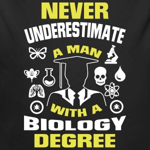 NEVER UNDERESTIMATE A MAN WITH A BIOLOGY DEGREE! Baby Bodysuits - Long Sleeve Baby Bodysuit