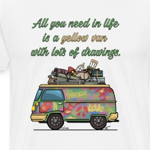 All You Need is a Yellow Van Graphic Hippie Shirt T-Shirts - Men's Premium T-Shirt