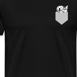Puppy and Kitten Pocket Square Cute Graphic Shirt T-Shirts - Men's Premium T-Shirt