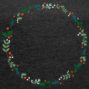 An evergreen wreath T-Shirts - Women´s Roll Cuff T-Shirt