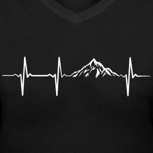 Mountain Heartbeat T-Shirts - Women's V-Neck T-Shirt