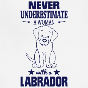 NEVER UNDERESTIMATE A WOMAN WITH A LABRADOR! Aprons - Adjustable Apron