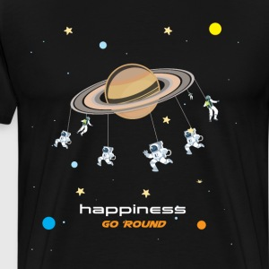 Happiness Go Round Graphic Space T-shirt T-Shirts - Men's Premium T-Shirt