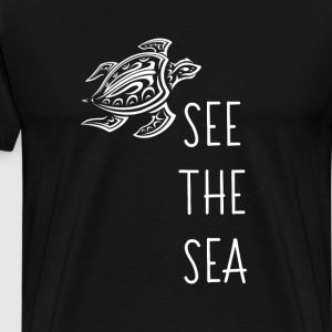 See the Sea Graphic Sea Turtle Beach T-shirt T-Shirts - Men's Premium T-Shirt