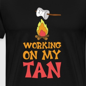 Working on My Tan Graphic Marshmallow T-Shirt T-Shirts - Men's Premium T-Shirt