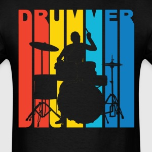Drummer Silhouette Retro Music T-Shirt - Men's T-Shirt