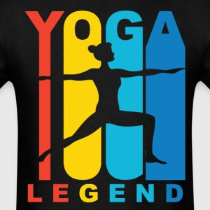 Yoga Legend Warrior Two Yoga Pose Retro Shirt - Men's T-Shirt